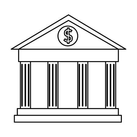 Edificio de banco financiero icono aislado diseño ilustración vectorial