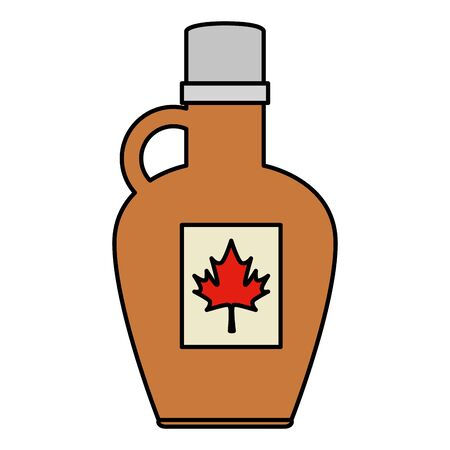 sweet maple syrup bottle product vector illustration design