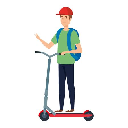 young man in folding scooter vector illustration design