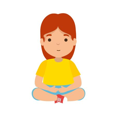 cute little girl seated character vector illustration design Illustration