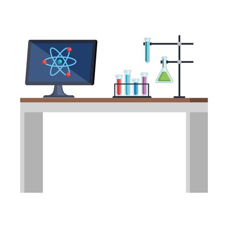 banco di laboratorio sul posto di lavoro icone illustrazione vettoriale design Vettoriali