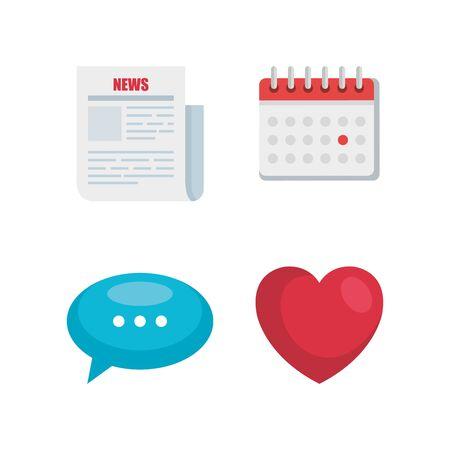 set di dati digitali con documenti di notizie e illustrazione vettoriale bolla di chat
