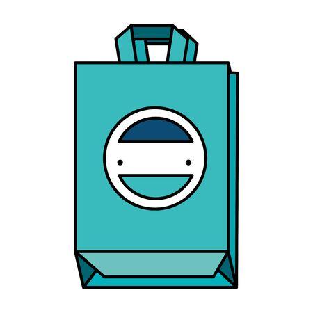 shopping bag with company emblem vector illustration design