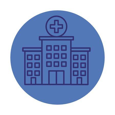 budynek szpitala fasada ikona wektor ilustracja projekt