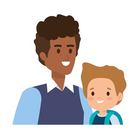 young father with son characters vector illustration design
