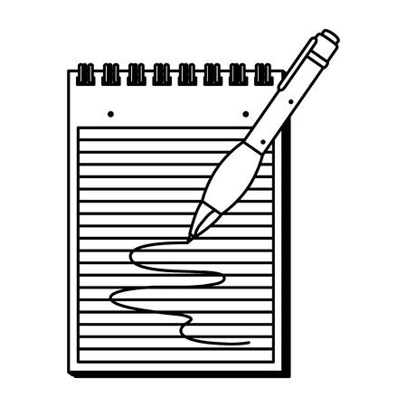 paper notepad with pen writing vector illustration design Illustration
