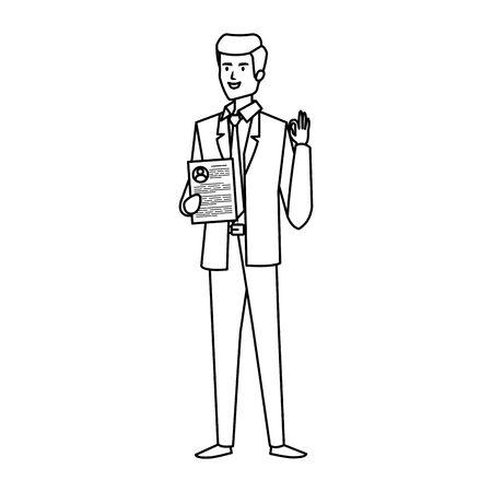elegant businessman with document character vector illustration design