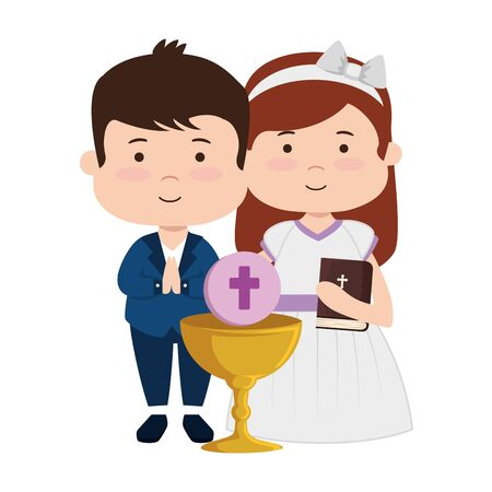 little kids with chalice and bible first communion vector illustration design