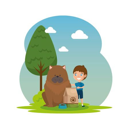 cute little boy with dog and food bag in the landscape vector illustration design 向量圖像