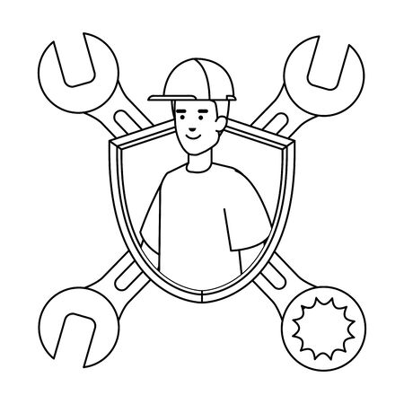 builder worker with helmet and wrenches in shield vector illustration design