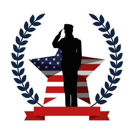 military man silhouette with emblem flag vector illustration design