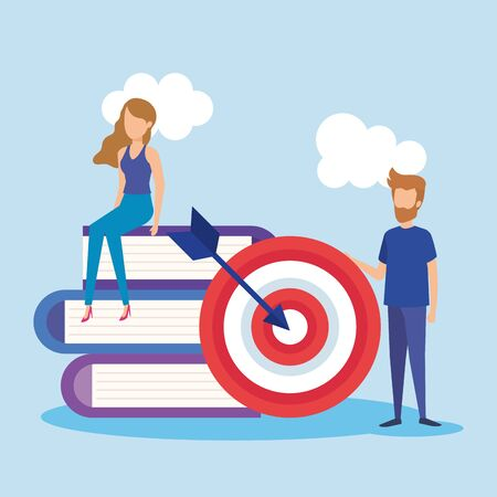 mini people with target and books vector illustration design