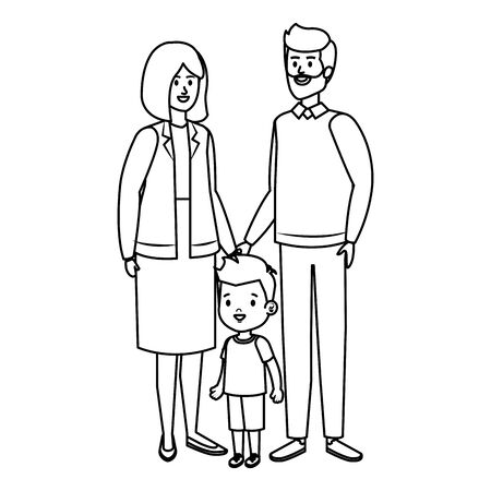 cute grand parents couple with grandson vector illustration design