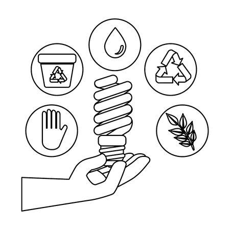 Mano con bombilla de ahorro y diseño de ilustraciones vectoriales iconos de ecología
