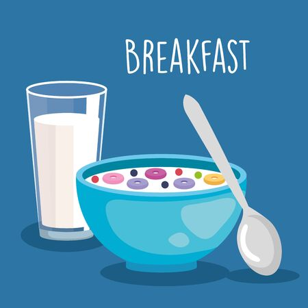 delicious cereal with spoon and milk glass vector illustration