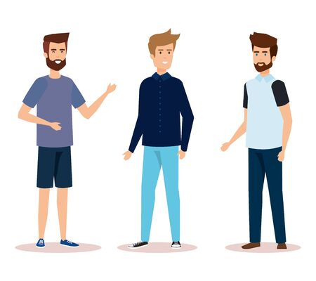 group of men characters vector illustration design Ilustrace