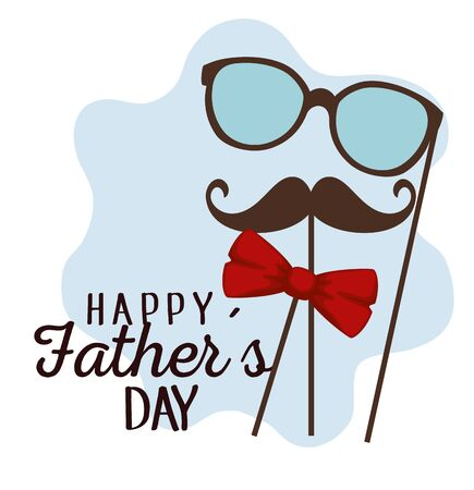fathers day celebration with glasses and mustache vector illustration Stockfoto - 126579497