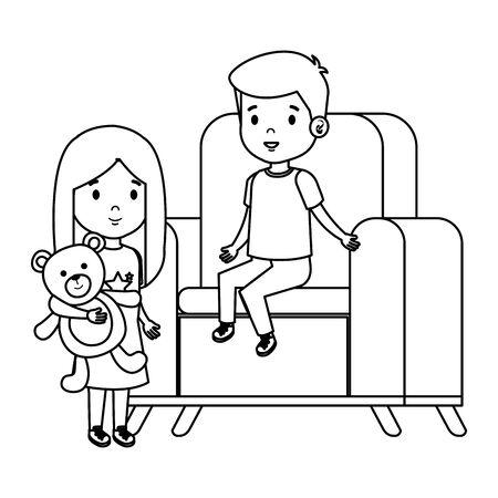 Pareja de niños pequeños sentados en un sofá con oso de peluche, diseño de ilustraciones vectoriales