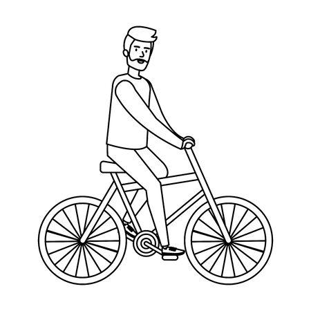 young man ride bike vector illustration design Illustration