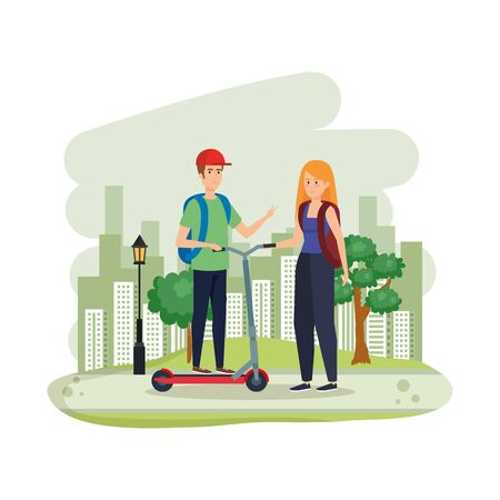 young couple in folding scooter on landscape vector illustration design
