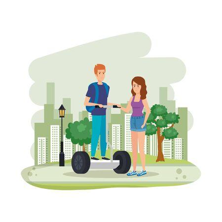 jeune couple, dans, pliage, e-scooter, sur, paysage, vecteur, illustration, conception