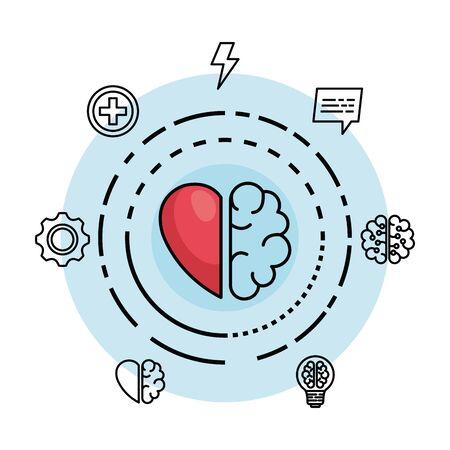 Cerebro creativo con corazón a la ilustración de vector de mente creativa