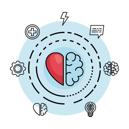 kreatives Gehirn mit Herz zur kreativen Verstandvektorillustration