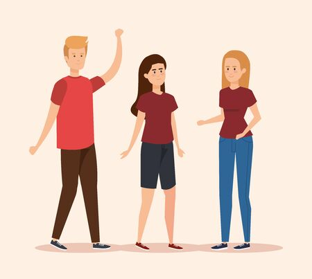 beauty girls and boy friends with casual clothes vector illustration