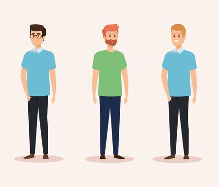 set of nice men with casual clothes and hairstyle vector illustration Иллюстрация