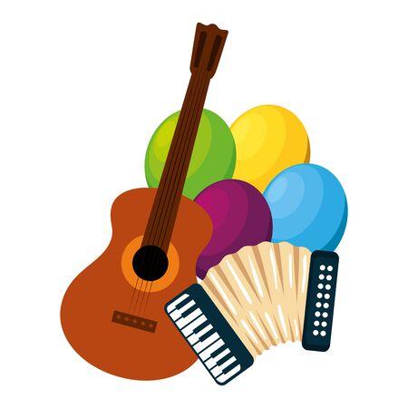 accordéon avec guitare et ballons hélium vector illustration design