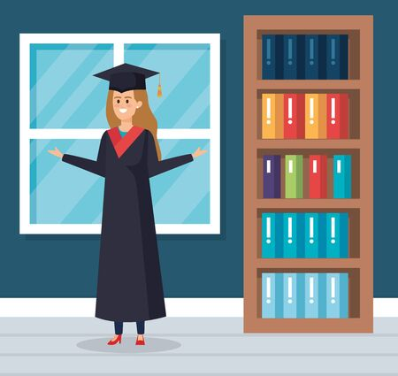 happy woman university graduation with rope and cap vector illustration