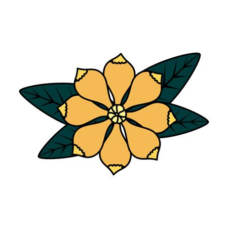 flower with leafs icon vector illustration design Vettoriali