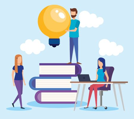 mini people with pile text books vector illustration design