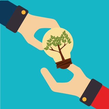 Ecology design over blue background, vector illustration.