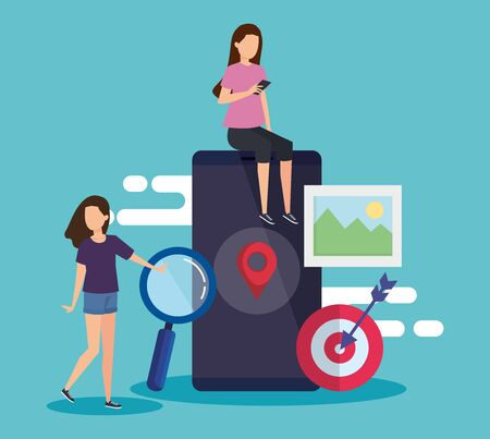 women with smartphone technology and location sign vector illustration