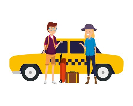 tourist couple with suitcases in taxi characters vector illustration design Standard-Bild - 126662995