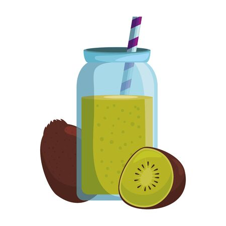 fresh kiwi exotic fruit with juice pot and straw vector illustration design