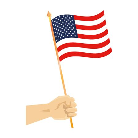 hand with united states of america flag vector illustration design