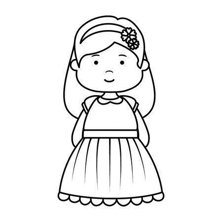 Petite fille première conception d'illustration vectorielle de caractère de communion Vecteurs