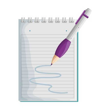 paper notepad with pen writing vector illustration design Ilustração