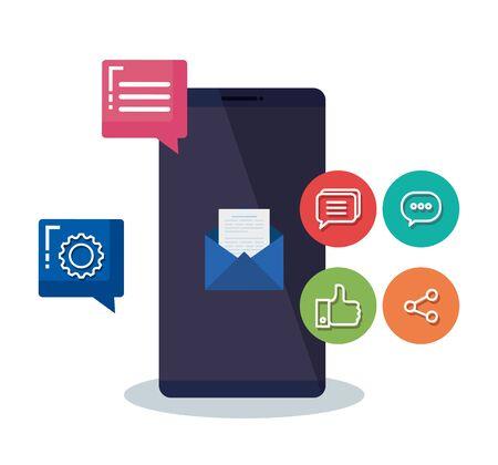smartphone technology with social media technology vector illustration Illustration