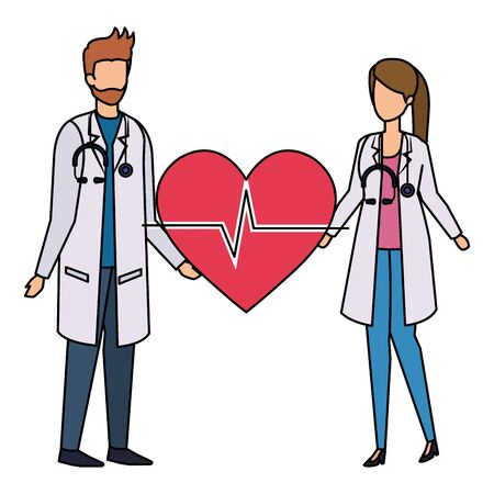 couple of professionals doctors with heart cardio vector illustration design Ilustração