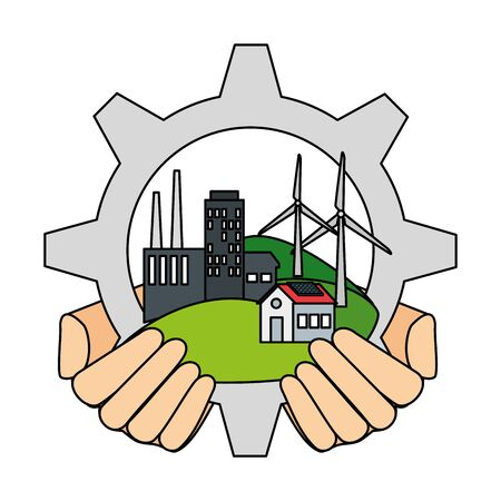 hands lifting building factory in gear vector illustration design