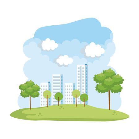 forest landscape with buildings scene vector illustration design Illustration