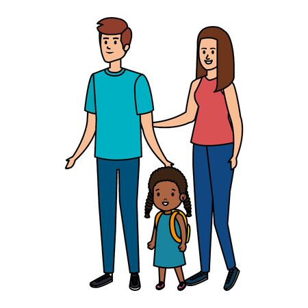 interracial parents couple with daughter characters vector illustration
