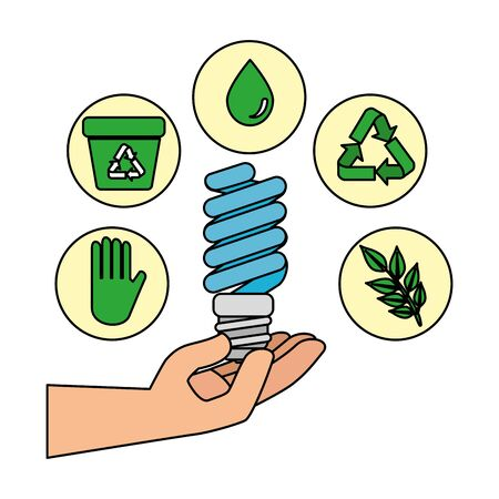 hand with saver bulb and ecology icons vector illustration design Illustration