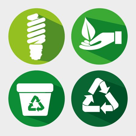 set ecology save bulb with recycle trash and leaf vector illustration