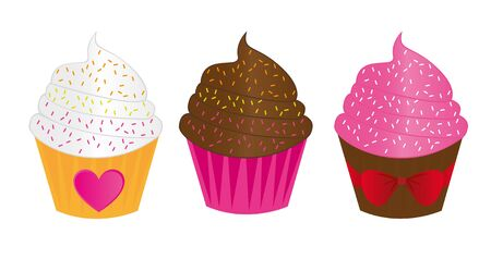 chocolate,strawberry and vanilla cute cup cakes over white background. vector