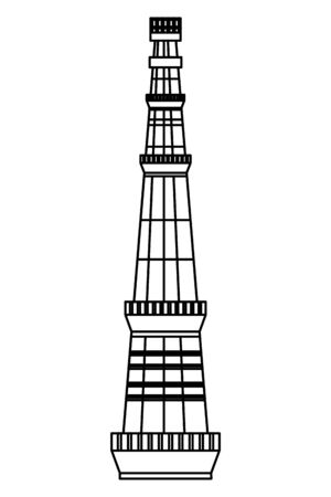 jama masjid famous tower icon vector illustration design 向量圖像