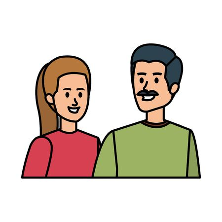 young couple avatars characters vector illustration design Illustration